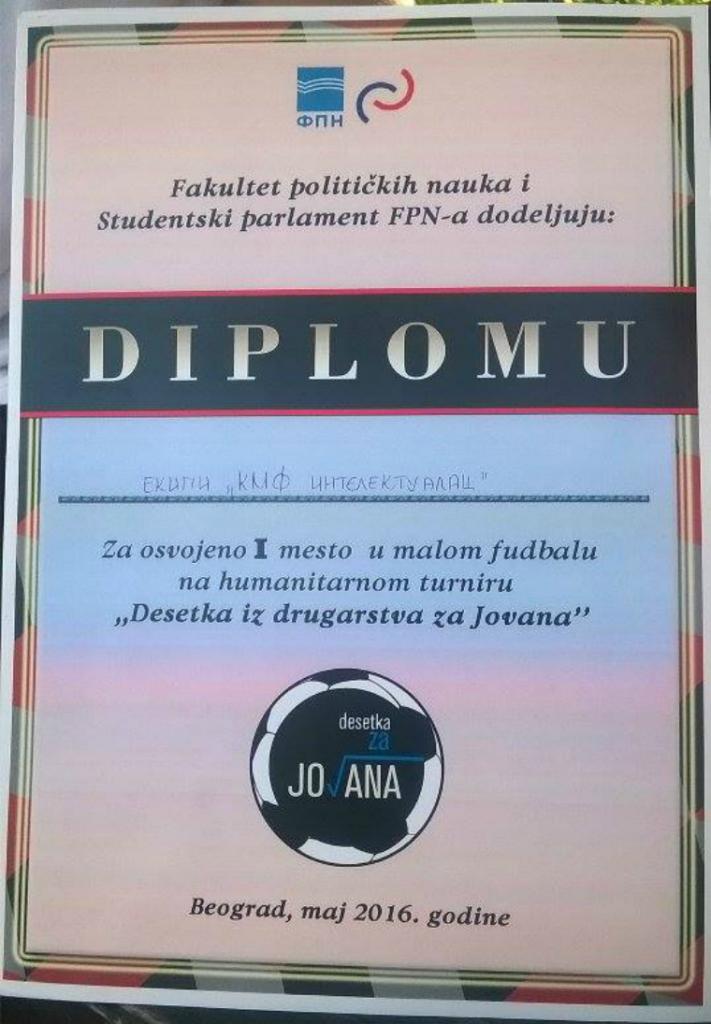 Diploma KMF Intelektualac - Humanost na delu